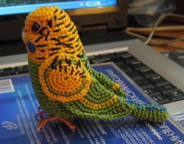Волнистый попугайчик, связанный крючком. - попугайчик.jpg